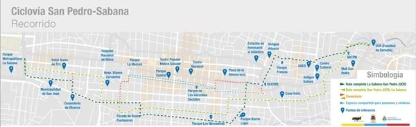 Este es el mapa de las rutas de la ciclovía entre La Sabana y La Universidad de Costa Rica.