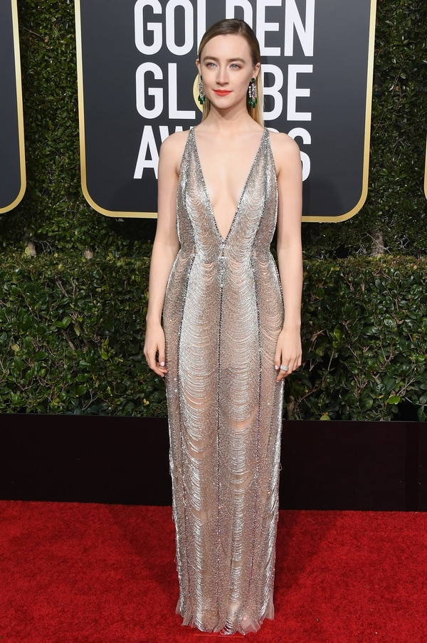 BEVERLY HILLS, CA - JANUARY 06: Saoirse Ronan attends the 76th Annual Golden Globe Awards at The Beverly Hilton Hotel on January 6, 2019 in Beverly Hills, California. Jon Kopaloff/Getty Images/AFP == FOR NEWSPAPERS, INTERNET, TELCOS & TELEVISION USE ONLY==