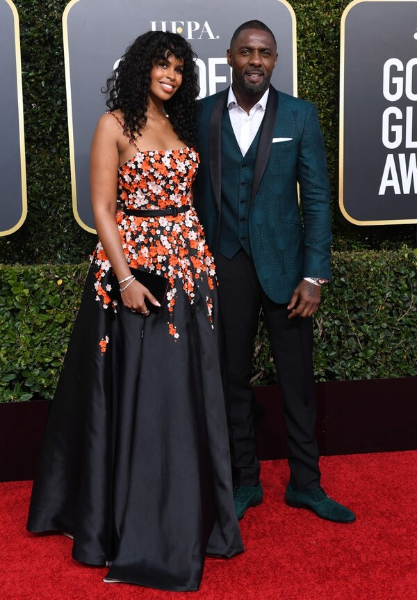 Actor Idris Elba and his fiance model Sabrina Dhowre arrive for the 76th annual Golden Globe Awards on January 6, 2019, at the Beverly Hilton hotel in Beverly Hills, California. (Photo by VALERIE MACON / AFP)