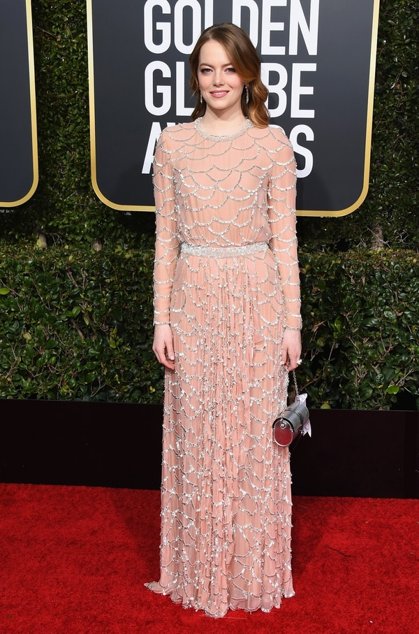 BEVERLY HILLS, CA - JANUARY 06: Emma Stone attends the 76th Annual Golden Globe Awards at The Beverly Hilton Hotel on January 6, 2019 in Beverly Hills, California. Jon Kopaloff/Getty Images/AFP == FOR NEWSPAPERS, INTERNET, TELCOS & TELEVISION USE ONLY==