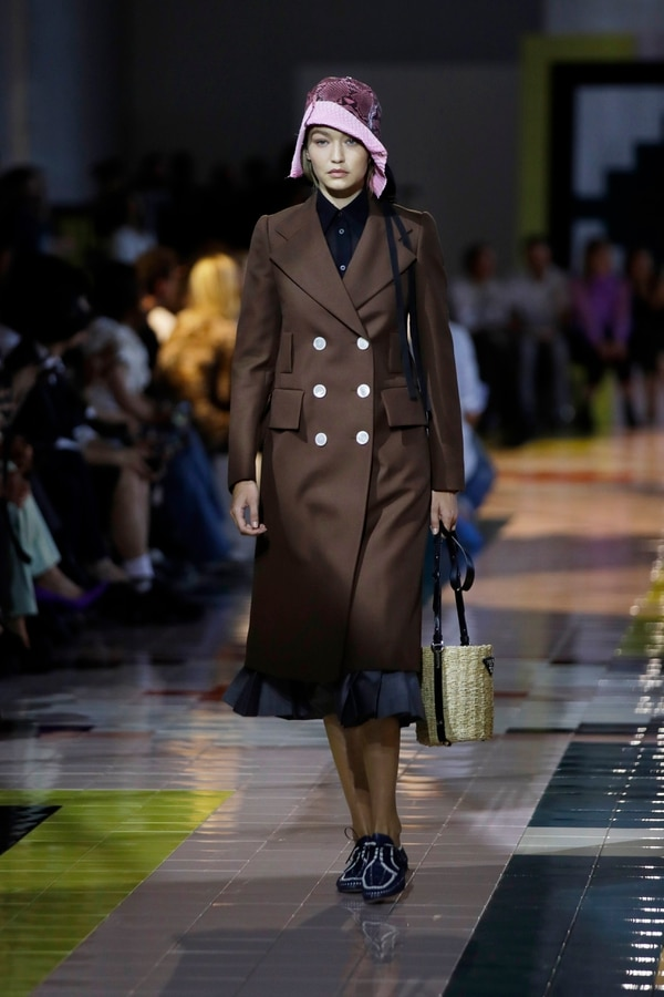 Model Gigi Hadid wears a creation as part of the Prada Spring-Summer 2020 collection, unveiled during the fashion week, in Milan, Italy, Wednesday, Sept. 18, 2019. (AP Photo/Luca Bruno)